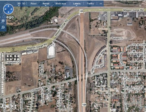 Bing aerial view of NB125 at Mission Gorge Rd
