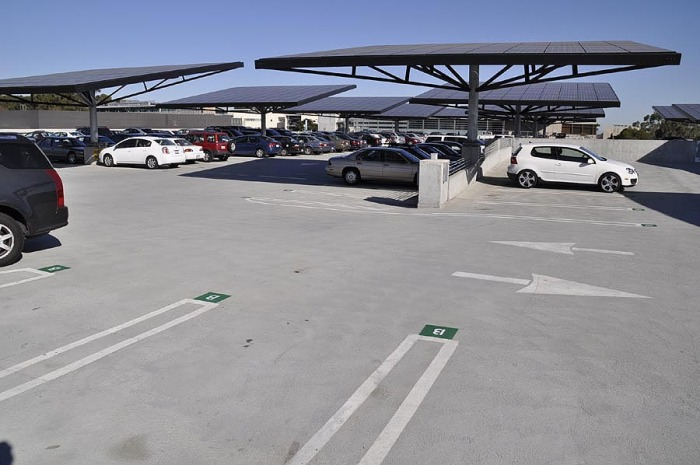 Photovoltaic array atop Gilman Parking Structure