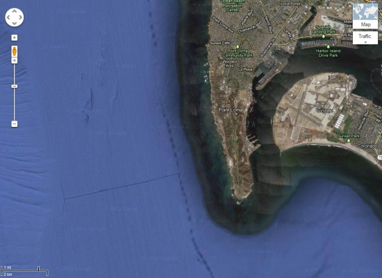 Google Maps view shows the underwater 4.5 mile outfall pipeline and diffuser