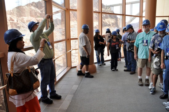Hoover Dam Visitor Center, awaiting the elevator to the bottom.