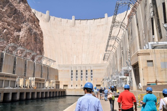 View at the bottom of the dam from the powerplant on the Arizona side.