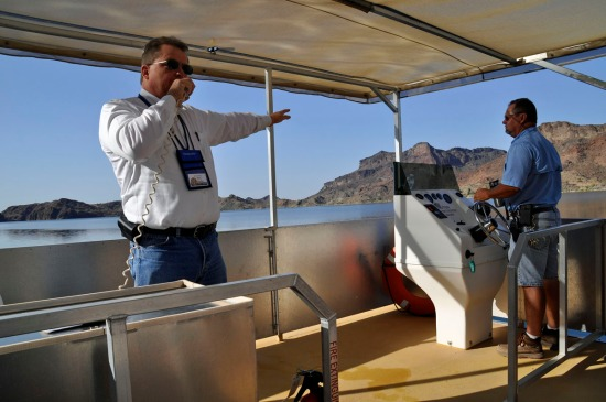 MWD's Marty Hundley describing the reservoir's features.