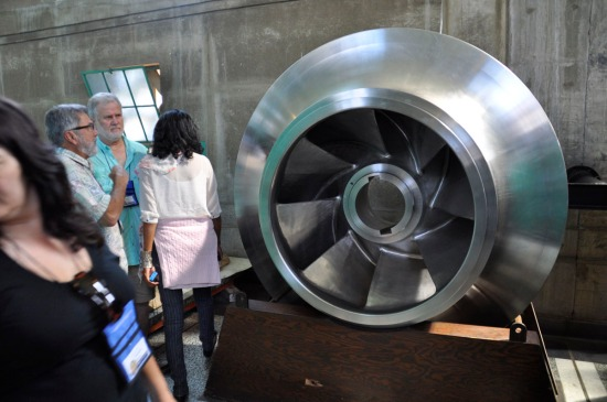 A stainless steel impeller on display.