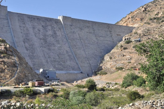 From a similar angle, this is the raised dam. For comparison, note the position of the two openings on the right hillside.