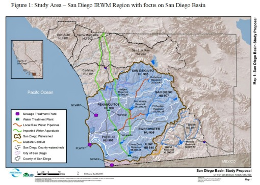The San Diego watershed basin study is comprised of six sub-hydrologic units (HU) within San Diego County highlighted above in blue.