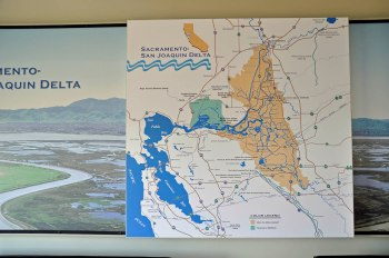 Map of the Sacramento-San Joaquin Delta on display at the Harvey O. Banks Delta Pumping Plant (click to enlarge).