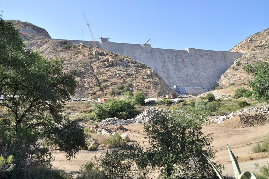 The San Vicente Dam Raise Project shown here nearly completed, increases reservoir capacity from 90,000 to 242,000 acre-feet.