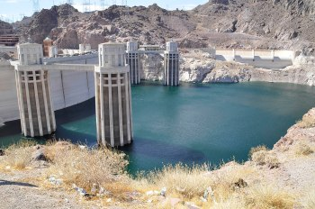 Behind Hoover Dam, Lake Mead doesn't come close to reaching the spillway.