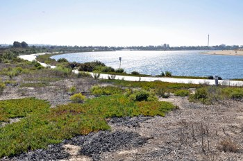 Looking west from Southeastern Mission Bay. Fiesta Island on the right, Sea World and the South Shores Boat Ramp in the background.