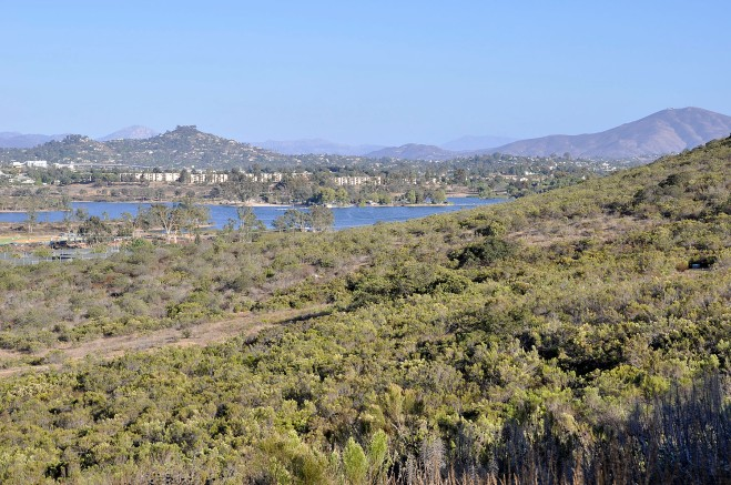 Lake Murray as seen from the Park Ridge watershed portion of Mission Trails Regional Park (click to enlarge)