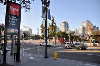 From there you can walk to Petco Park (on the left) or to Central Library (dome on right).