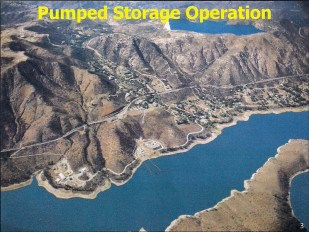 These three slides show a pumped storage operation already functioning at Lake Hodges and Olivenhain Reservoir.