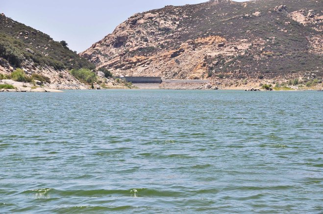 The backside of the dam at Lake Morena reservoir is largely exposed because the water level is so low. At the end of September, Morena contained 13% of capacity (click to enlarge).