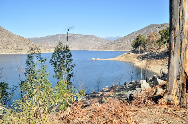 A portion of El Capitan Reservoir, looking east from the personal watercraft area, Cuyamaca Peak in the distance. As of September, the reservoir held 44% of its 112,807 acre-feet capacity (click to enlarge).
