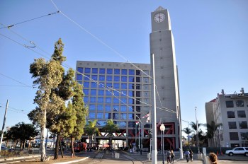 Our trolley stop was the 12th and Imperial Transit Center with its landmark clock tower.