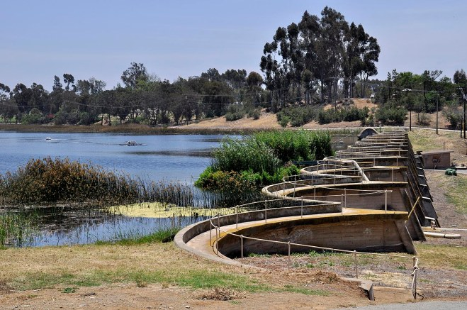 The San Dieguito Reservoir receives water from Lake Hodges and serves as a pre-treatment process. The water is then pumped to a full treatment plant and delivered to Solana Beach, Rancho Santa Fe, and other areas.