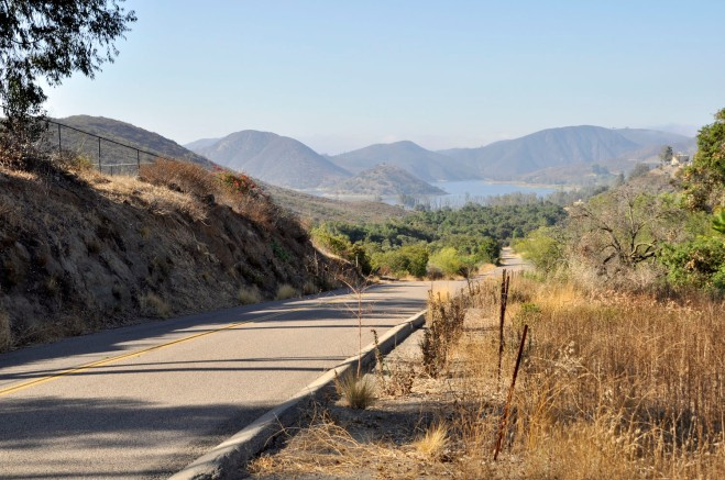 Lake Hodges reservoir, approaching from the north on Lake Drive.