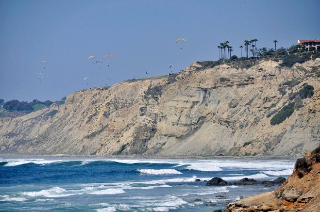 Gliding over Black's Beach. The Torrey Pines Gliderport is perched at the top of the cliffs at center of photo.