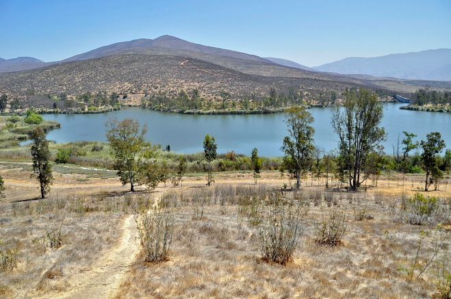Upper Otay Reservoir. Picture taken from trail near northwestern side of the lake.