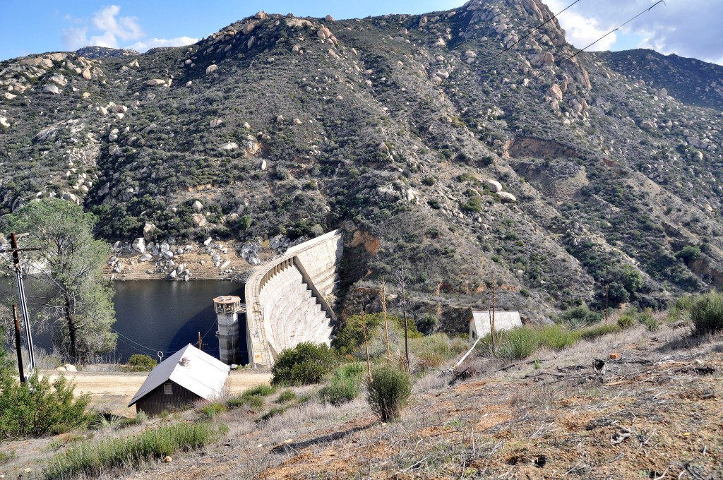 Barrett Dam spills into Cottonwood Creek which continues south down the canyon to the right.